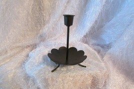 "PARTYLITE taper holder, black metal 6"" tall, bottom 4.75"" diam (candles) - $8.60"