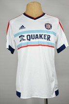 Adidas Chicago Fire jersey L new white away mens quaker soccer football ... - €31,11 EUR