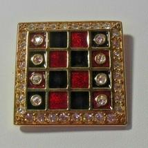 SWAROVSKI Crystal Swan Logo Gold-tone Red & Black Enamel Checker Board B... - $34.50