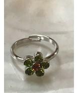Estate Dainty Cookie Lee Green & Bronze Rhinestone Daisy Flower Adjustab... - $9.49