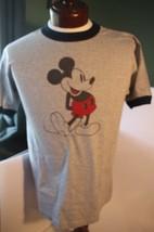Vtg 1970's NWOT Walt Disney World Classic Mickey Mouse T-Shirt Gray Ringer NOS - $79.95