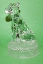 "Vtg.""Cristal D'Arques"" Lead Crystal Glass Dog Figurine Frosted Base Paperweight - $29.65"