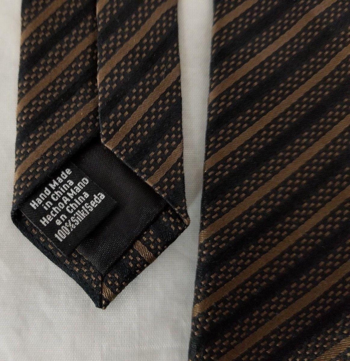 """Alfani Mens Necktie Brown Stripe Neck Tie 100% Silk Handmade 58""""×3.75"""" FREE SHIP"""