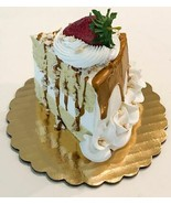 Fake Piece Cake Slice Carmel Nut Drizzle Cake Slice Decoration Prop Dezi... - $19.79