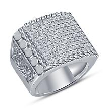 925 Sterling Silver 14k White Gold Finish Men's Wedding Ring Round Cut Diamond - $123.82
