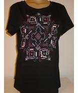 Sahalie Saturday Market Tee T Shirt Knit Top Black Geometric Pink White-... - $12.82
