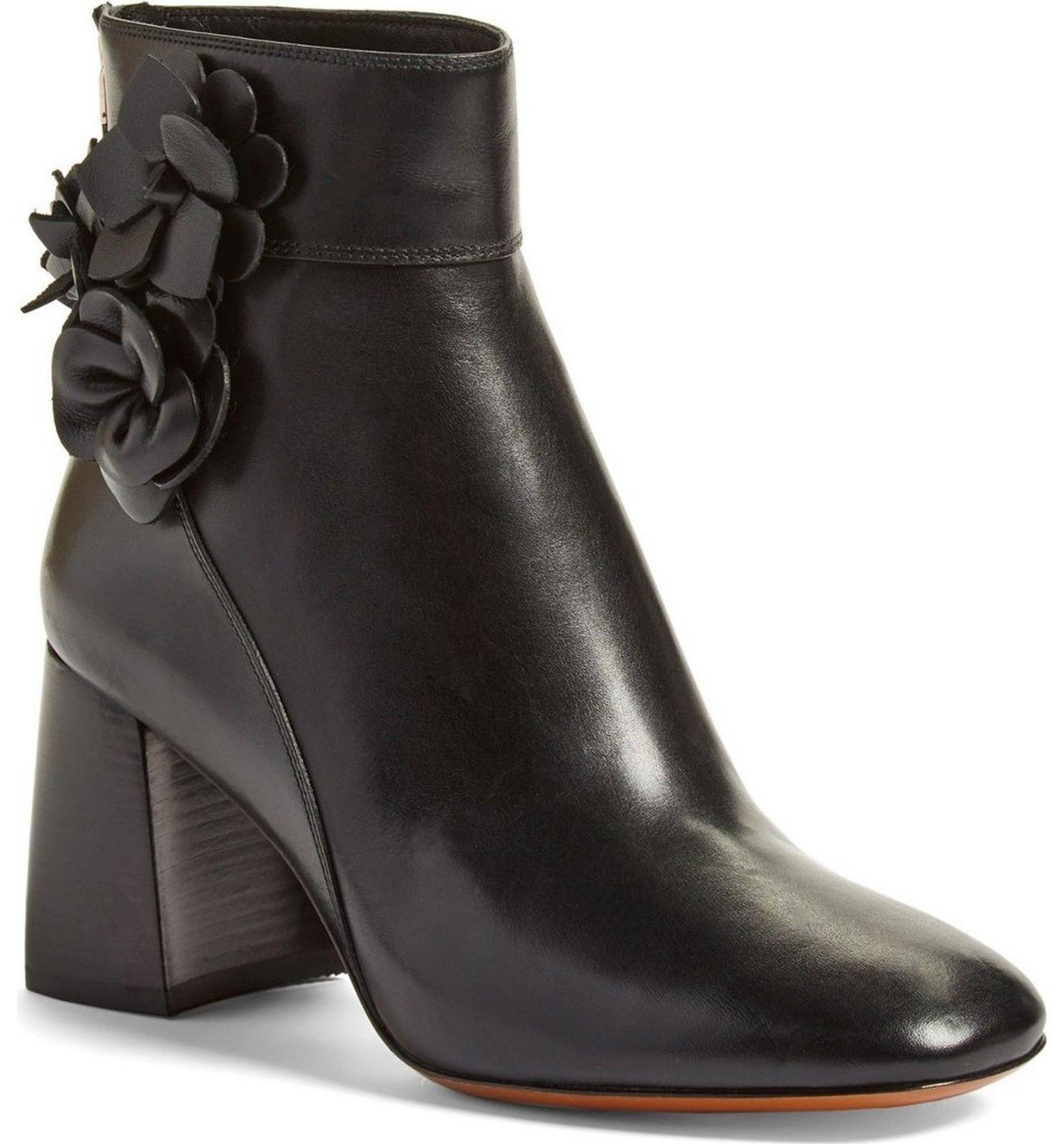 da626dfc16bb 6693. 6693. Previous.  495 Tory Burch Black Leather Blossom Block Heel Boots  Ankle Booties 10.5 ·  495 Tory ...
