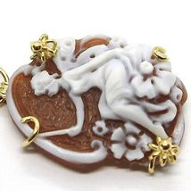 YELLOW GOLD PENDANT 18K 750, CAMEO CAMEO, FAIRY, FLOWERS, PINK TURQUOISE image 3