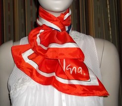 Vera Neumann Red White Blue Long Sash Scarf  44 Inch Acetate - $34.64