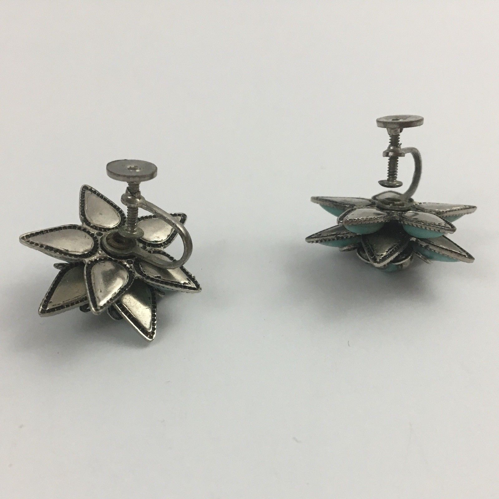 Vintage Cabochon Bracelet Screw Back Earrings Set Faux Turquoise Link Box Clasp