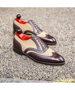Handmade mens Beige Brown Leather Suede Shoes, Men Lace up Wing tip Fash... - $159.97+