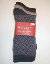 Merona Classic Crew Socks 3 Pair Diamond Plaid Dark Purple Lavendar Wome... - $6.00