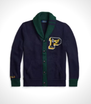 NEW Men's Polo Ralph Lauren VARSITY SHAWL COLLAR LETTERMAN CARDIGAN Hunt... - $169.99
