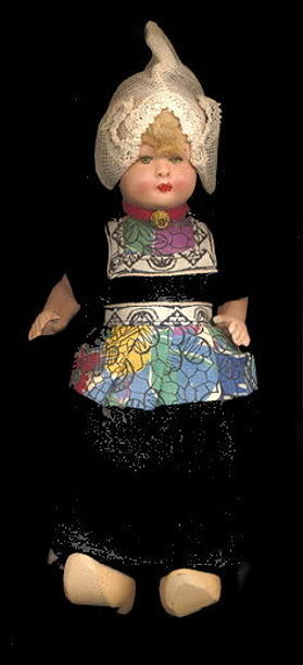 "Lovely Early Composition Holland 7 1/2"" Doll"