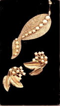 Lovely White Glass with Goldtone Leaf Brooch & Earrings - $6.95
