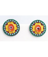 Signed ADAYA Maya Micro Mosaic Clip On Earrings - $39.99