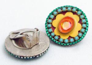 Signed ADAYA Maya Micro Mosaic Clip On Earrings