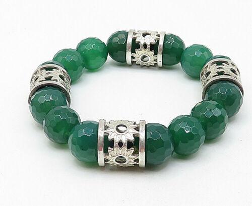 925 Silver - Vintage Faceted Jade Floral Pattern Heavy Beaded Bracelet - B4871