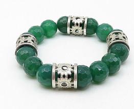 925 Silver - Vintage Faceted Jade Floral Pattern Heavy Beaded Bracelet - B4871 image 2