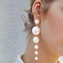 Trendy Elegant Exaggeration Simulated Pearl Long Earrings - $19.90 CAD