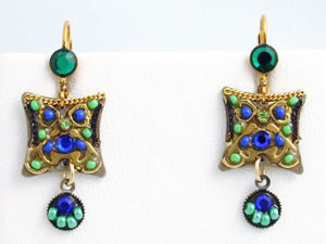 Signed ADAYA Maya Crystal Beads Mosaic Earrings