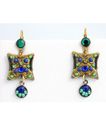 Signed ADAYA Maya Crystal Beads Mosaic Earrings - $42.00