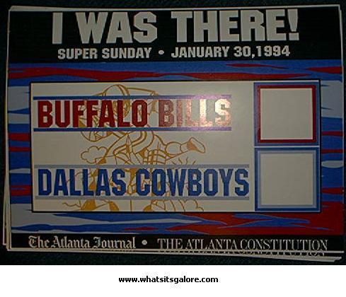 Super Bowl sign SUPER SUNDAY 1994 15x11 1/2 inches