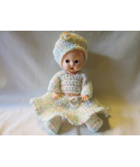 "Vintage Ideal Hard Plastic Sleep Eye 8"" Doll, Hand Crocheted Outfit - 1950s - $15.00"