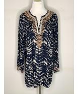 Soft Surroundings Womens Akira Bead Tunic Blouse Blue Boho V-Neck Petite... - $32.95