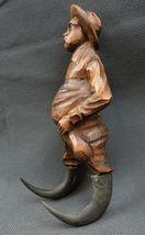 Antique 1900 German Black Forest Carved Wood Figural Chamois Horns Hook Rack image 4