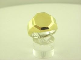 David Yurman Faceted Metal Signet Ring with 18K Gold Sz 10 - $1,166.20