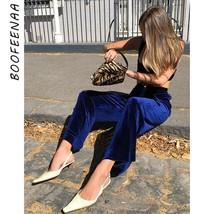 BOOFEENAA Fashion High Waist Blue Velvet Flare Pants Womens Clothing Aut... - $39.32
