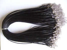 Wholesale Lot of 50 2mm Black Leather Cord Choker/Necklace Men Women 13-... - $24.08