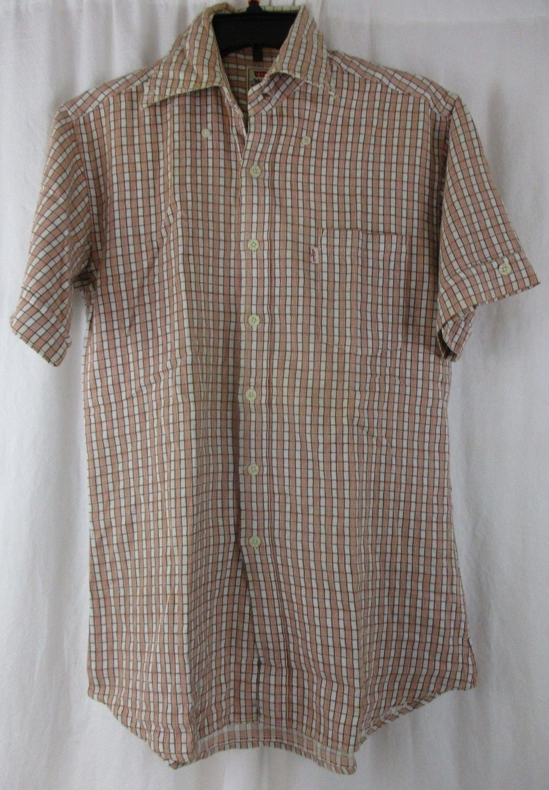 Primary image for Levi's Western Plaid Check Shirt Button Up Short Sleeves Men's Small