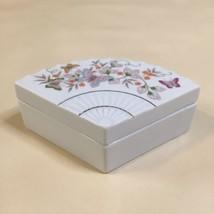 Vintage 1980 Avon Butterfly Fantasy Porcelain Fan Shaped Trinket Box BEA... - $9.89