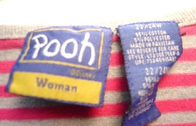 WOMEN DISNEY WINNIE POOH 22 24 W PLUS PINK GRAY SHIRT