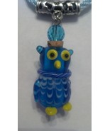 Owl Glass Essential Oil Perfume Bottle Cork Necklace with cord Handmade ... - $16.99
