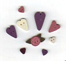 BUTTON PACK JABC 8466 Scatter Hearts cross stitch chart Just Another Button Co - $12.50