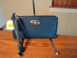 Authentic Coach 53413 Zippy Wallet Wristlet Refined Leather Denim Blue L... - $57.02