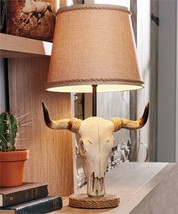 "22"" Steer Bull Skull Head Design Table Lamp - Western Country Design - Polystone"