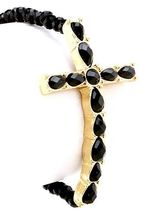 Black Bead Black Faceted Acrylic Cross Stretch Bracelet Gold Tone - ₨881.35 INR