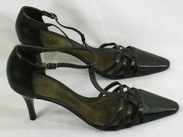 Lauren Ralph Lauren Dark Brown Leather Strappy Heels Size 9 B US Excellent - $13.07
