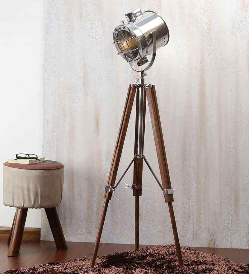 Primary image for Brown nickel finish mango wood tipod floor lamp