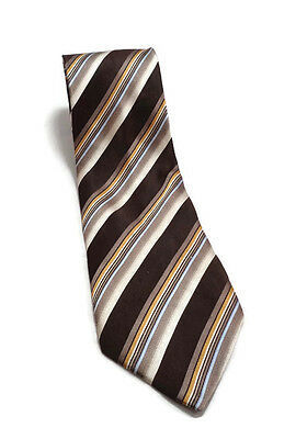 "GEOFFREY BEENE BROWN STRIPED Hand Made Silk Tie Men's Necktie 3.75"" WIDE 61"" L"