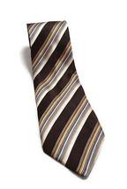 """Geoffrey Beene Brown Striped Hand Made Silk Tie Men's Necktie 3.75"""" Wide 61"""" L - $12.46"""