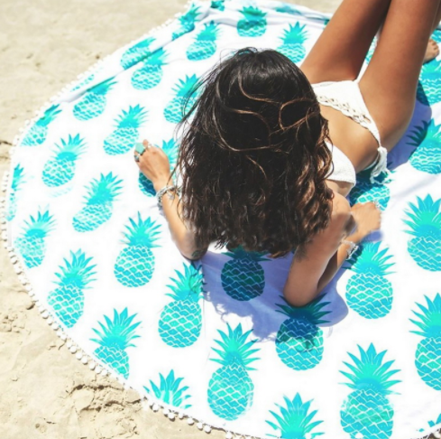 Skyblue Round Pineapple Tapestry Outdoor Beach Towel Picnic Blanket