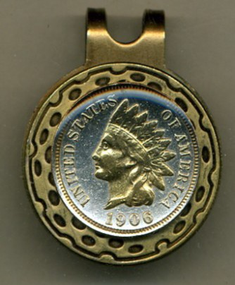 Indian Head Penny (minted 1859 - 1909) 2-Toned Gold on Silver coin golf marker