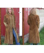 QASTAN WOMEN'S NEW POPULAR TAN WESTERN SUEDE LEATHER 46 INCHES LONG COAT... - $197.01+