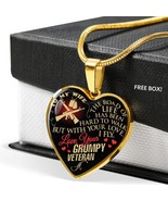 To My Wife The Road Love Your Grumpy Veteran Heart Necklace - $26.24+