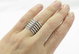High Polished Metal Wide Spiral Wrap Statement Ring Size 8 - $17.00